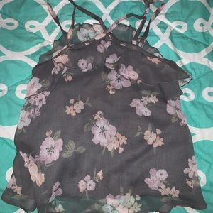 Hollister Flowery Blouse Tank Top Size Medium